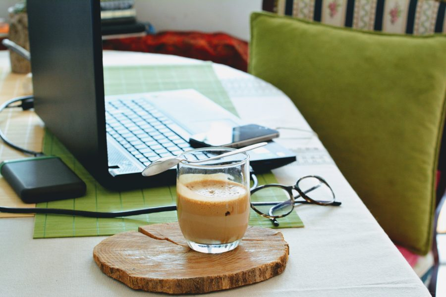 green home office with coffee